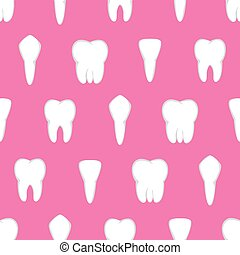 Tooth seamless pattern. Four different types of teeth....