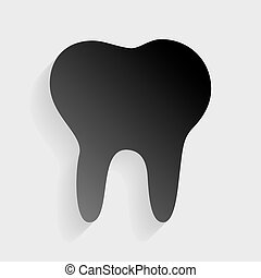 Tooth sign illustration. Black paper with shadow on gray background.