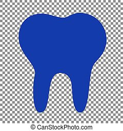 Tooth sign illustration. Blue icon on transparent background.