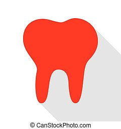 Tooth sign illustration. Red icon with flat style shadow path.