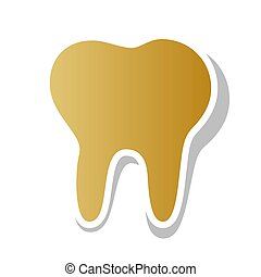 Tooth sign illustration. Vector. Golden gradient icon with white