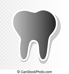 Tooth sign illustration. Vector. New year blackish icon on transparent background with transition.