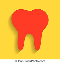 Tooth sign illustration. Vector. Red icon with soft shadow on golden background.