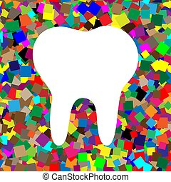 Tooth sign illustration. Vector. White icon on colorful backgrou