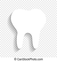 Tooth sign illustration. Vector. White icon with soft shadow on transparent background.