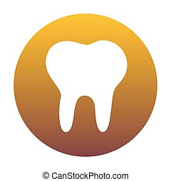 Tooth sign illustration. White icon in circle with golden gradie