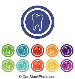 Tooth signs colored set
