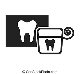 tooth silhouette with dental care icon
