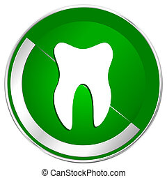 Tooth silver metallic border green web icon for mobile apps and internet.