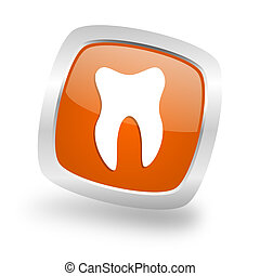 tooth square orange glossy chrome silver metallic web icon
