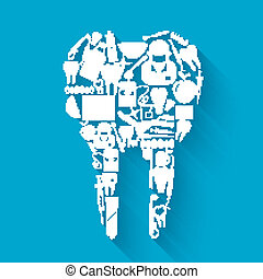Tooth made of silhouette dental health and caries protection stomatology icons concept vector illustration