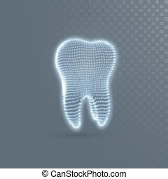 Tooth structure of glowing particles isolated on transparent...