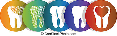 Dental symbols collection, beautiful colorful designs. Isolated on a white background. Tooth health care concept symbols, teeth treatment and care.