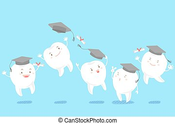 tooth take graduation hat on the blue background