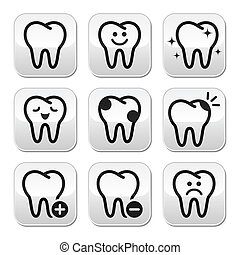 Stomatology, dentist concept - tooth buttons set isolated on white