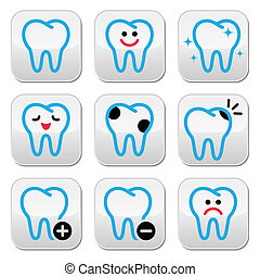 Tooth, teeth vector icons set in co