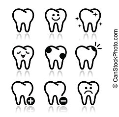 Tooth , teeth vector icons set - Stomatology, dentist...