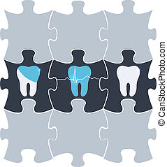 Tooth treatment symbol in the puzzle shapes