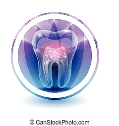 Tooth treatment symbol, round shape colorful overlay flower petals at the background