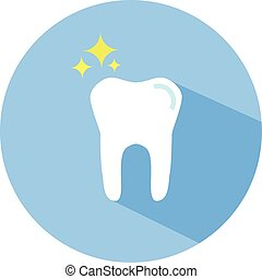 Tooth vector icon in flat style with long shadow. Round icon, design element.