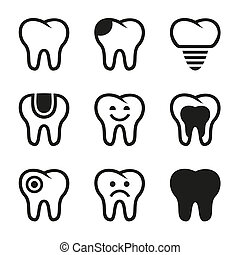 Tooth vector icons set