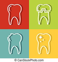 Tooth white line icons on color background