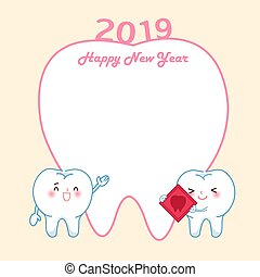 tooth with 2019 year