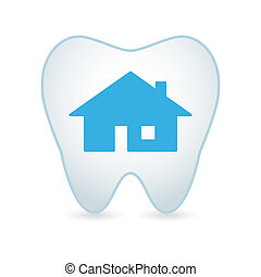 Tooth with a house