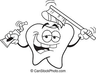 Tooth with a toothbrush - Black and white illustration of a...