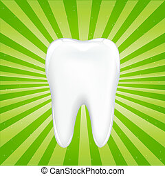 Tooth With Beams, On Green Background With Beams, Vector...