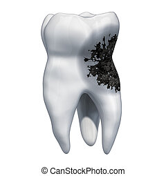 Tooth with caries, toothache concept. 3D rendering