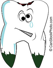 tooth with cavity - tooth in pain with cavity and plaque...