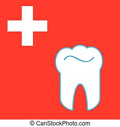 Tooth with cross on red background