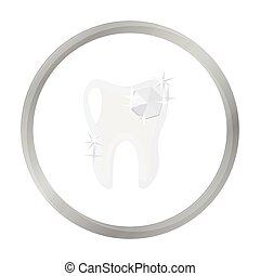 Tooth with diamond icon in monochrome style isolated on white background. Dental care symbol stock vector illustration.