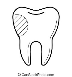 Tooth with filling icon,  illustration