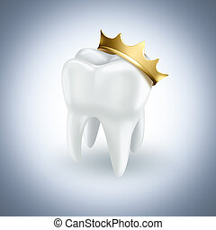tooth with gold crown on light background