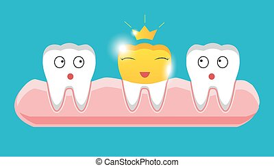 Tooth with golden dental crown icon in cartoon style on a white background