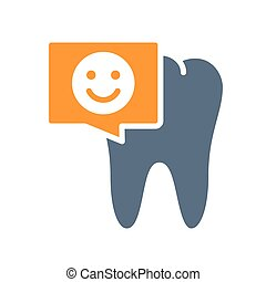 Tooth with happy face in chat bubble colored icon. Healthy organ in the oral cavity symbol