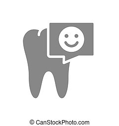 Tooth with happy face in chat bubble gray icon. Organ in the oral cavity symbol