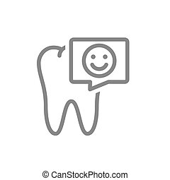 Tooth with happy face in speech bubble line icon. Healthy organ in oral cavity symbol