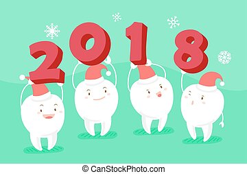 tooth with happy new year