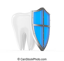 Tooth with metal shield on white background Protection Concept