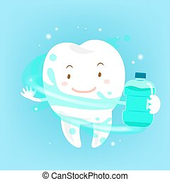 tooth with mouthwash