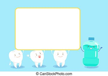 tooth with mouthwash - cute cartoon tooth take bullboard...