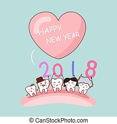 tooth with new year - Happy new year with cartoon tooth...