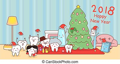 tooth with new year - happy cute cartoon tooth family,...