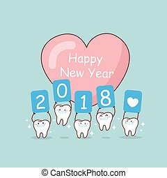 tooth with new year - happy new yoar and cute cartoon tooth...