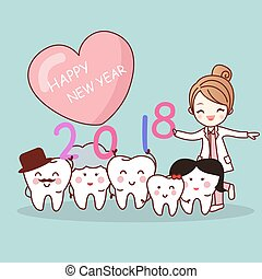 tooth with new year - Happy new year and cute cartoon...