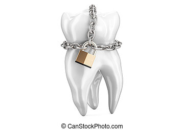 Tooth with padlock and chain. Teeth protection concept, 3D...