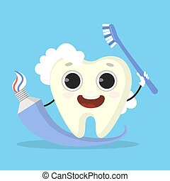 Tooth with paste.